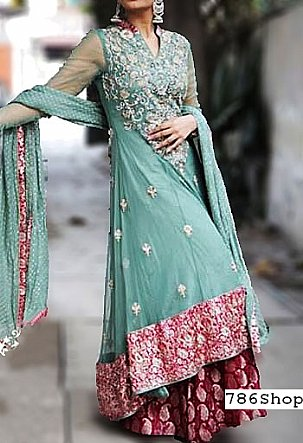 Sea Green Chiffon Suit | Pakistani Wedding Dresses in USA