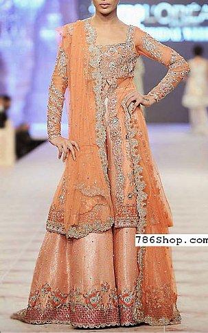 Peach Chiffon Suit | Pakistani Wedding Dresses in USA