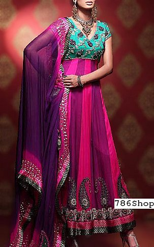 Pink/Indigo Chiffon Suit | Pakistani Party and Designer Dresses in USA