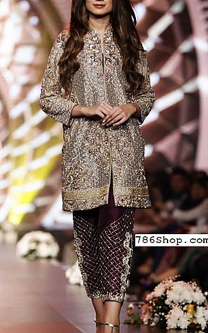 Fawn/Mauve Chiffon Suit | Pakistani Party and Designer Dresses in USA