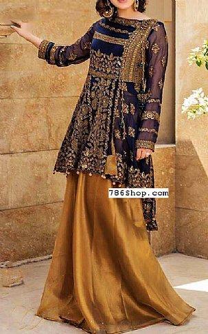 Blue/Golden Chiffon Suit | Pakistani Wedding Dresses in USA