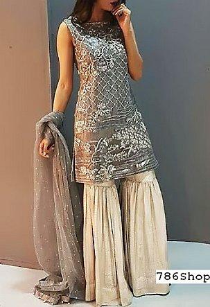 Grey/Off-white Chiffon Suit | Pakistani Wedding Dresses