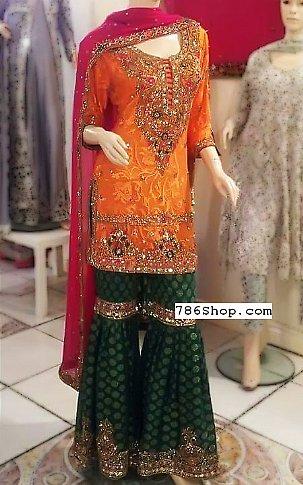 Orange/Green Chiffon Suit | Pakistani Wedding Dresses