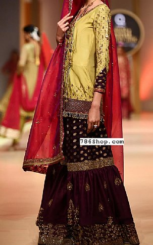 Light Green/Mauve Silk Suit | Pakistani Wedding Dresses