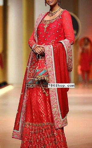 Red Crinkle Chiffon Suit | Pakistani Wedding Dresses in USA