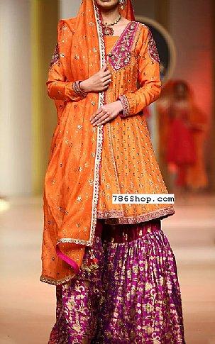 Orange Silk Suit | Pakistani Wedding Dresses