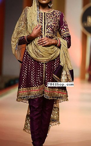 Plum Jamawar Chiffon Suit   Pakistani Party and Designer Dresses in USA