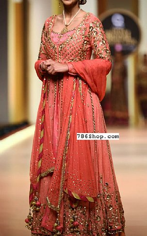 Coral Crinkle Chiffon Suit | Pakistani Party and Designer Dresses in USA