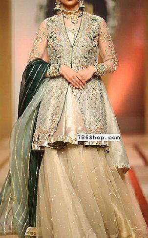 Sea Green Crinkle Chiffon Suit   Pakistani Wedding Dresses