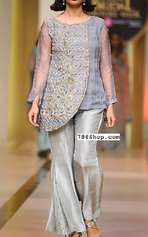 Grey/Gold Crinkle Chiffon Suit | Pakistani Party and Designer Dresses in USA