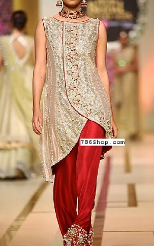 Golden/Red Silk Suit   Pakistani Party and Designer Dresses in USA