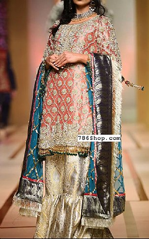 Peach/Golden Crinkle Chiffon Suit | Pakistani Wedding Dresses