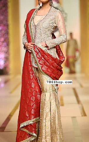 Golden/Red Crinkle Chiffon Suit | Pakistani Wedding Dresses in USA