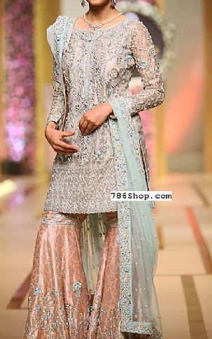 Grey/Peach Crinkle Chiffon Suit | Pakistani Wedding Dresses in USA