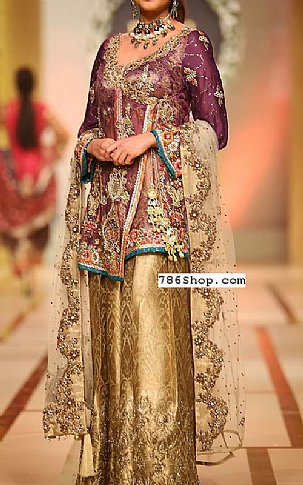 Plum/Golden Crinkle Chiffon Suit | Pakistani Party and Designer Dresses in USA