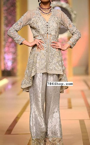 Light Grey Crinkle Chiffon Suit | Pakistani Party and Designer Dresses in USA