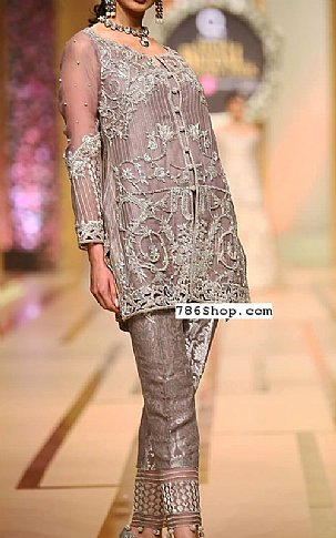 Rose Grey Crinkle Chiffon Suit | Pakistani Party and Designer Dresses in USA