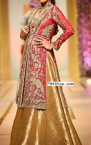 Magenta/Golden Crinkle Chiffon Suit | Pakistani Wedding Dresses