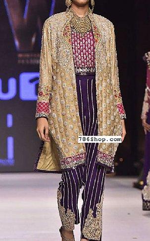 Golden/Indigo Crinkle Chiffon Suit   Pakistani Party and Designer Dresses in USA