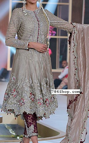 Rose Grey Silk Suit | Pakistani Party and Designer Dresses in USA