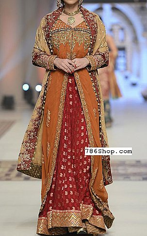 Rust/Red Crinkle Chiffon Suit   Pakistani Party and Designer Dresses in USA