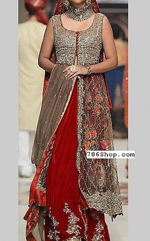 Grey/Red Crinkle Chiffon Suit | Pakistani Wedding Dresses