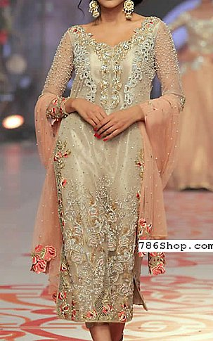 Light Golden Organza Suit   Pakistani Party and Designer Dresses in USA