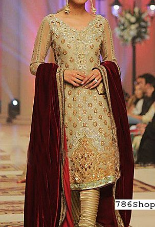 Golden Crinkle Chiffon Suit   Pakistani Party and Designer Dresses in USA