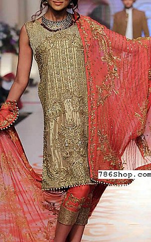 Golden/Carrot Crinkle Chiffon Suit | Pakistani Party and Designer Dresses in USA