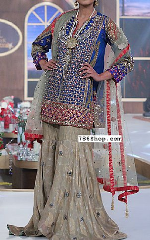 Blue/Beige Crinkle Chiffon Suit | Pakistani Wedding Dresses