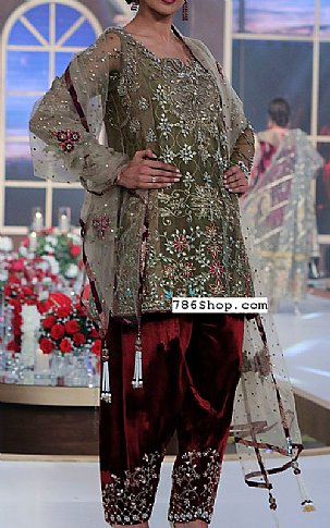 Olive/Maroon Chiffon Suit   Pakistani Party and Designer Dresses in USA