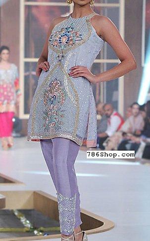 Sky Blue/Lilac Crinkle Chiffon Suit   Pakistani Party and Designer Dresses