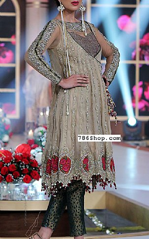 Beige Crinkle Chiffon Suit | Pakistani Party and Designer Dresses in USA