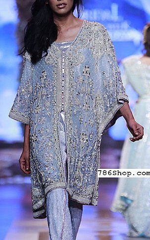 Horizon Blue Crinkle Chiffon Suit | Pakistani Party and Designer Dresses in USA