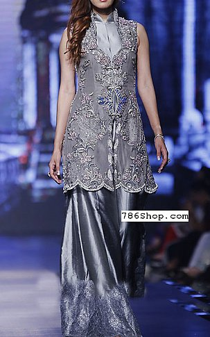 Grey Crinkle Chiffon Suit | Pakistani Party and Designer Dresses in USA