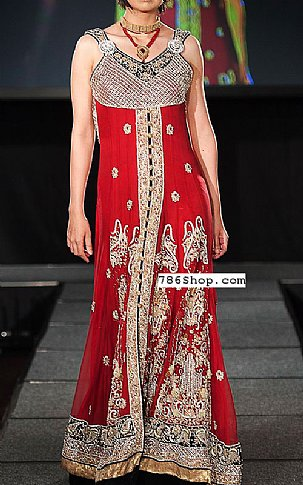 Red Crinkle Chiffon Suit   Pakistani Party and Designer Dresses in USA