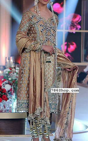 Beige Silk Suit | Pakistani Party and Designer Dresses in USA