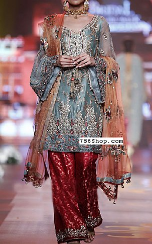 Slate Grey/Red Silk Suit | Pakistani Party and Designer Dresses in USA