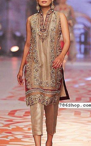 Caramel Beige Chiffon Suit | Pakistani Party and Designer Dresses
