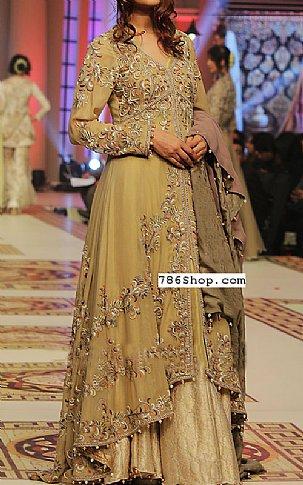 Golden Crinkle Chiffon Suit | Pakistani Wedding Dresses in USA