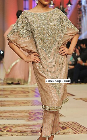 Peach Silk Suit | Pakistani Party and Designer Dresses in USA