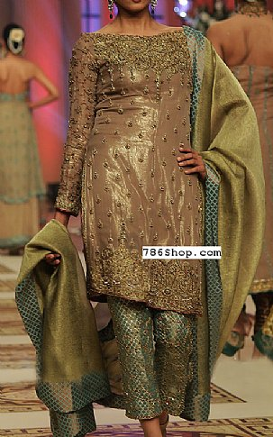 Beige/Pistachio Silk Suit   Pakistani Party and Designer Dresses in USA