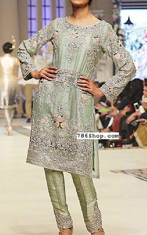 Pistachio Silk Suit   Pakistani Party and Designer Dresses in USA