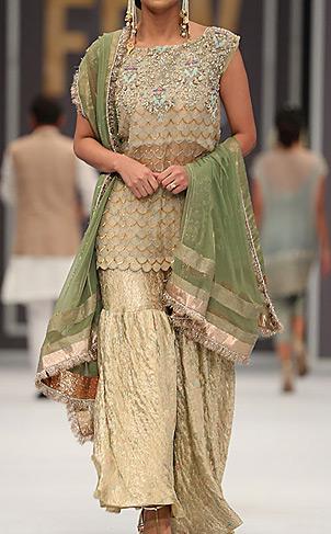 Light Golden Chiffon Suit | Pakistani Wedding Dresses