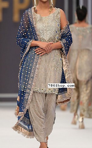 Sand Grey Chiffon Suit   Pakistani Party and Designer Dresses in USA