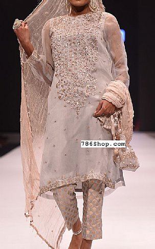 Grey/Peach Chiffon Suit | Pakistani Party and Designer Dresses in USA