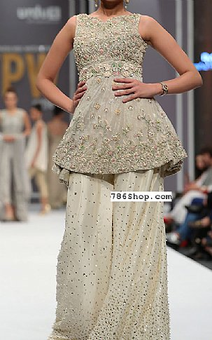 Cream Chiffon Suit | Pakistani Party and Designer Dresses in USA