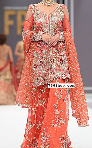 Coral Crinkle Chiffon Suit | Pakistani Wedding Dresses in USA