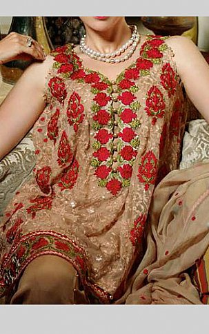 Beige Chiffon Suit | Pakistani Chiffon Dresses in USA