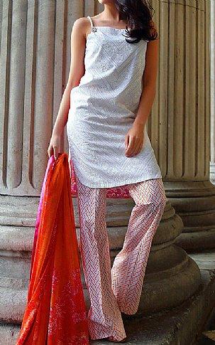 Silver/Pink Lawn Suit. | Pakistani Lawn Suits